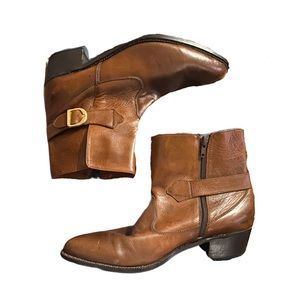 Vittorio Ponti buckle tan leather western boots 9d